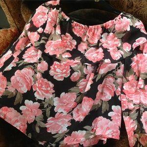Inc floral rose off the shoulder top